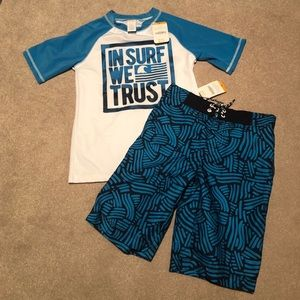 Gymboree Rash guard shirt and swimming trunks